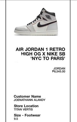 083e634f612e3 Nike SB x Jordan 1 NYC to Paris Light Bone Brand New US 9.5
