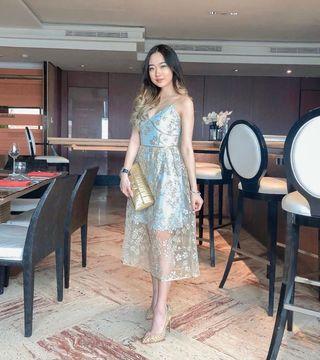 Kana dress blue & gold