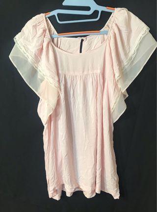 🚚 荷葉袖粉色上衣
