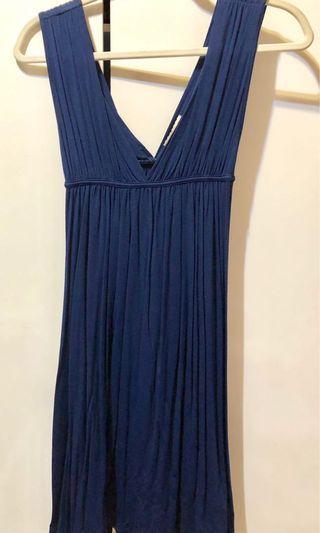 藍色 無袖深V小洋裝