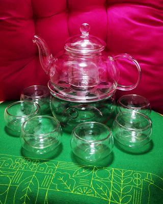 耐熱玻璃花茶具套裝:茶壺+爐+6杯