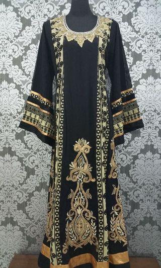 Black Gold Abaya Kaftan Jalabiya Jubah Dress for Eid
