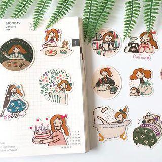 Happy girl journal sticker