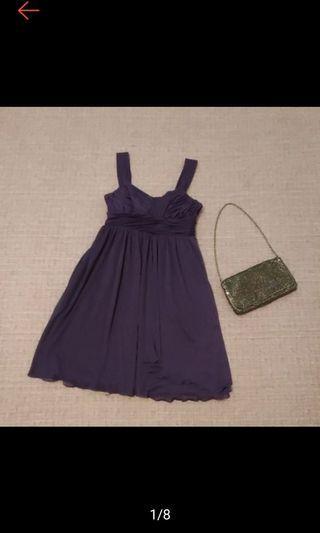 美國帶回 時尚紫 抓皺 高腰 細肩帶洋裝 禮服