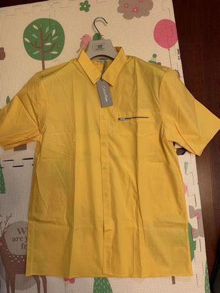 全新Calvin Klein 全綿短恤衫 黃色