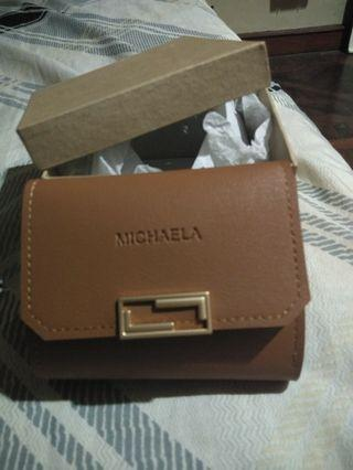 New Michaela cash & card wallet.  Leather with box.