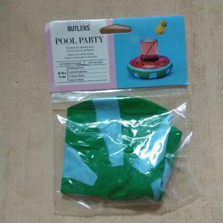 🚚 西瓜 迷你泳圈造型  充氣杯墊 杯座 擺飾
