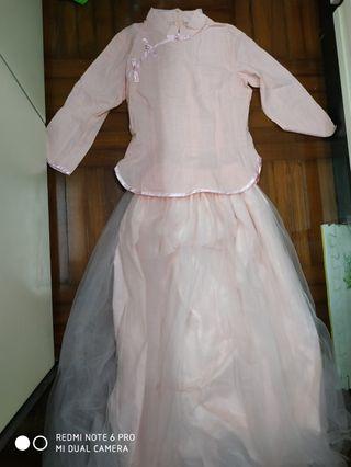 粉紅色漢服輕紗民國古裝套裝民族中國風仙氣伴娘裙仙女套裝學生漢元素cosplay party pink dress set