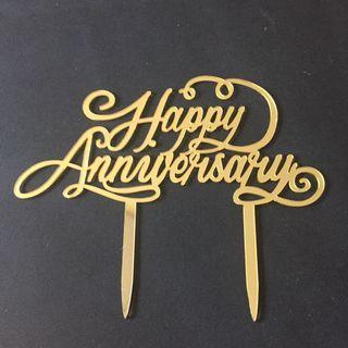 🚚 Gold Acrylic Happy Anniversary Cake Topper