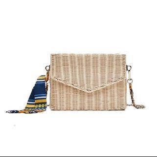 Woven Straw Crossbody Box Bag with Scarf🧣