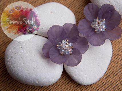 紫色大花花耳環