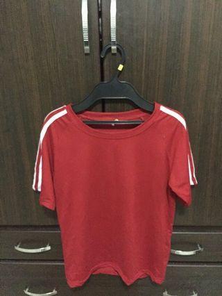 紅色三線槓短袖T恤