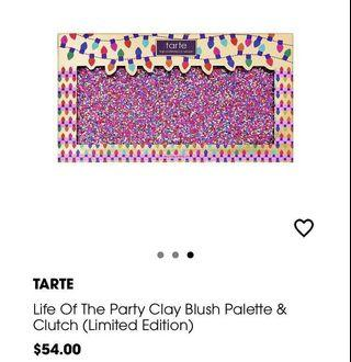 Tarte life of the party blush palette and clutch