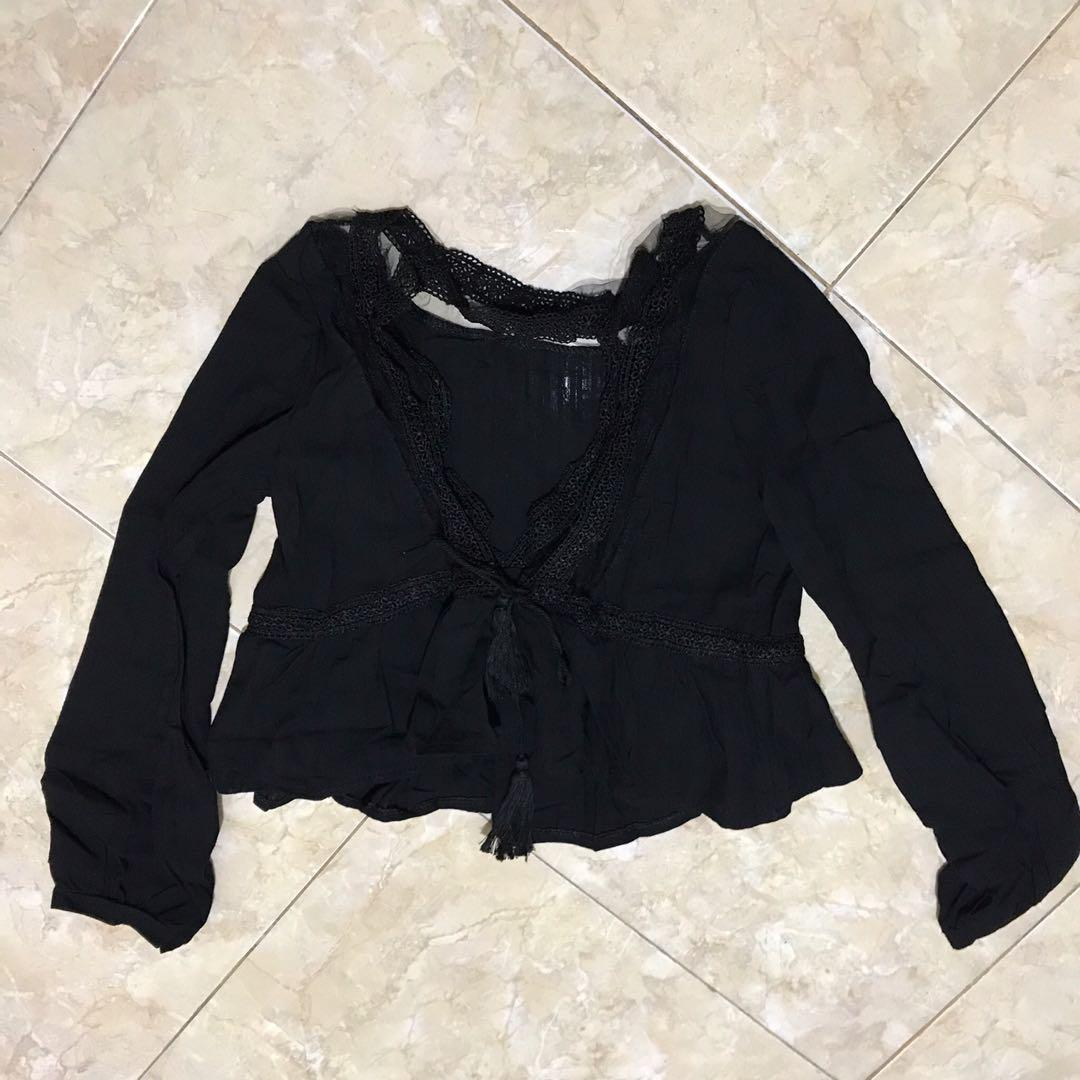 Atasan brokat readystock bangkok / baju brukat hitam / crop top hitam