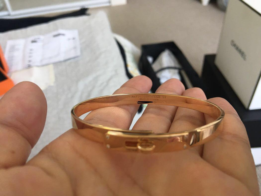 AUTHENTIC Hermes Kelly Bracelet Rosegold with four diamonds complete