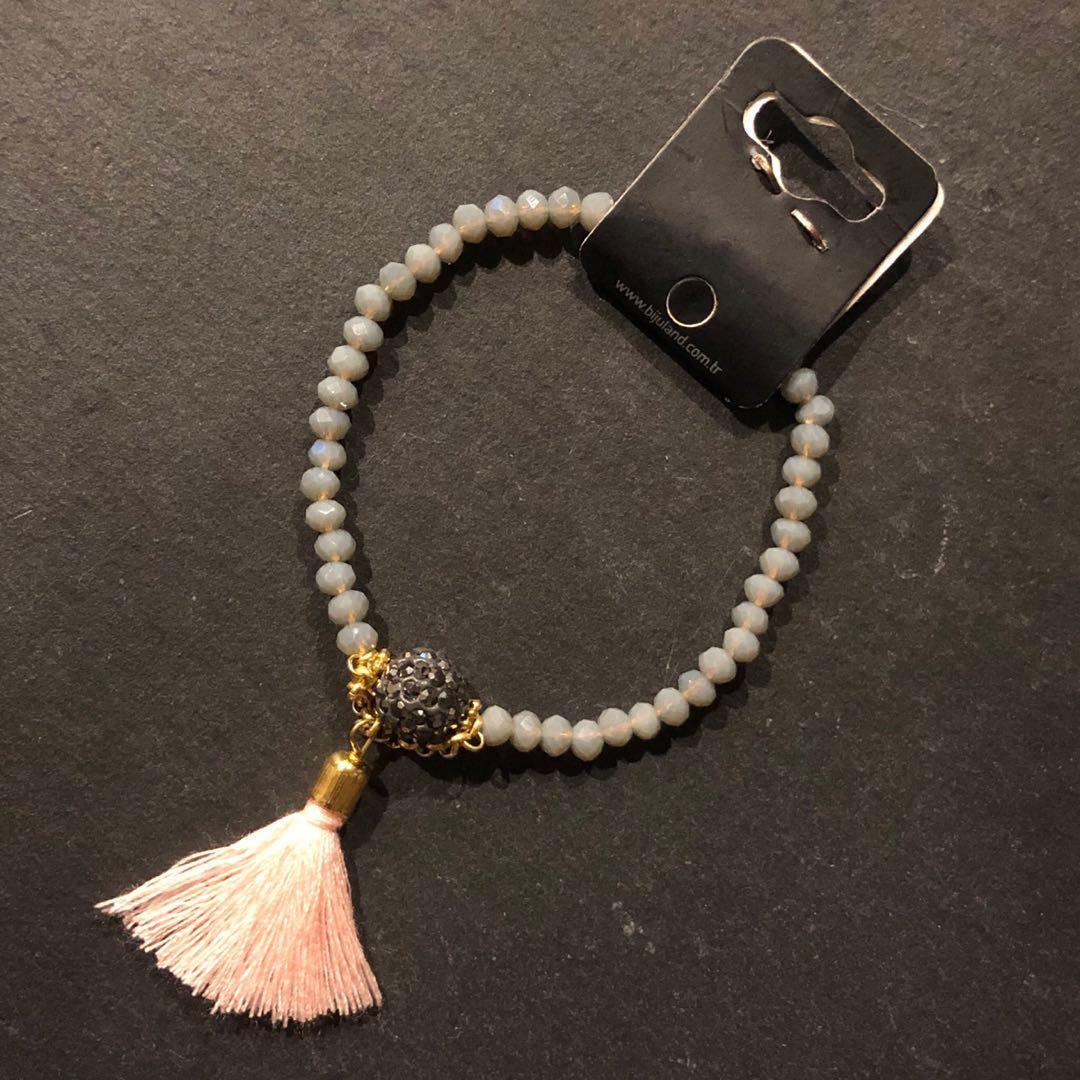 Beaded Bracelet with Diamanté ball and tassel - Grey