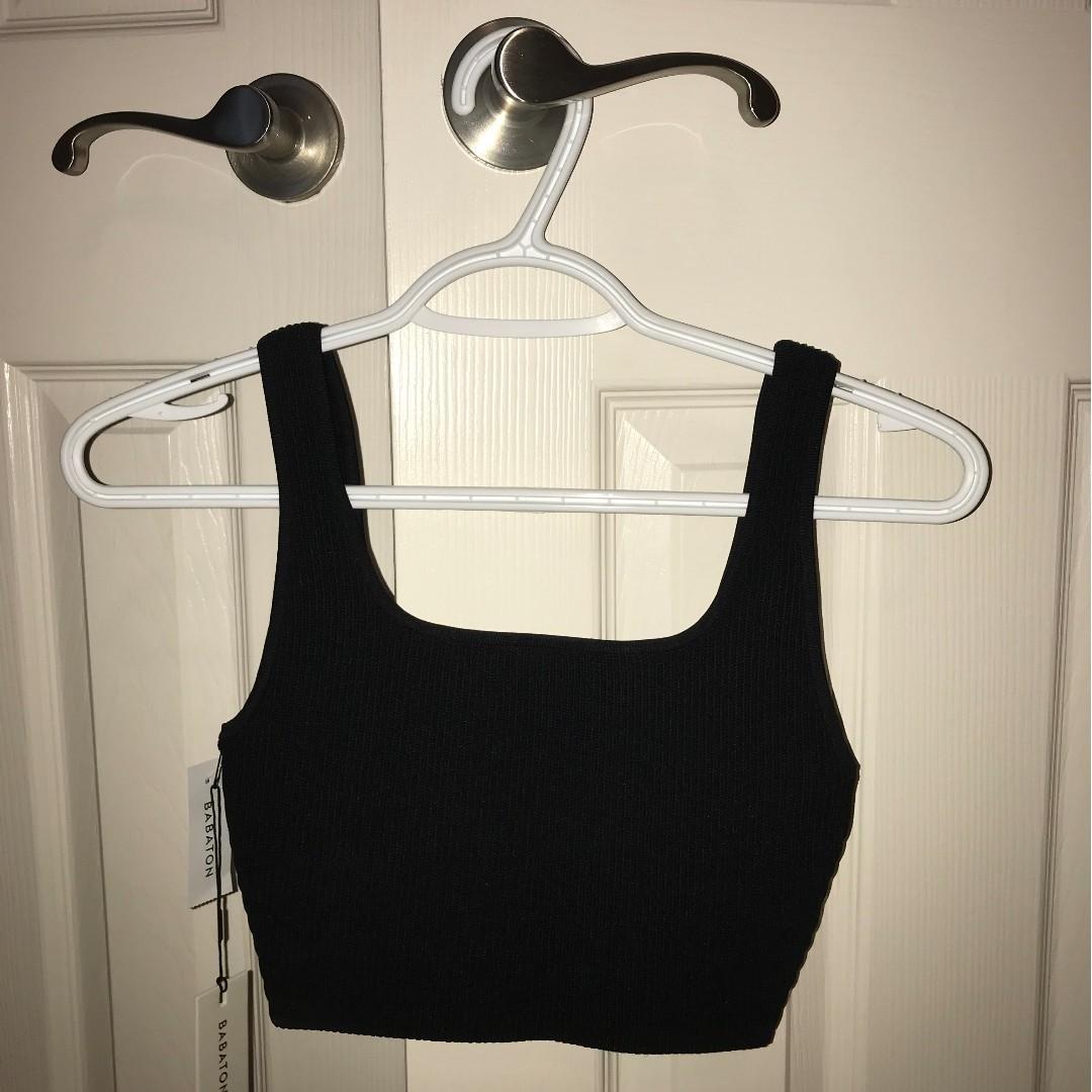 BNT Aritzia Babaton Arjun Knit Tank Top / Crop Top Size Small in Black