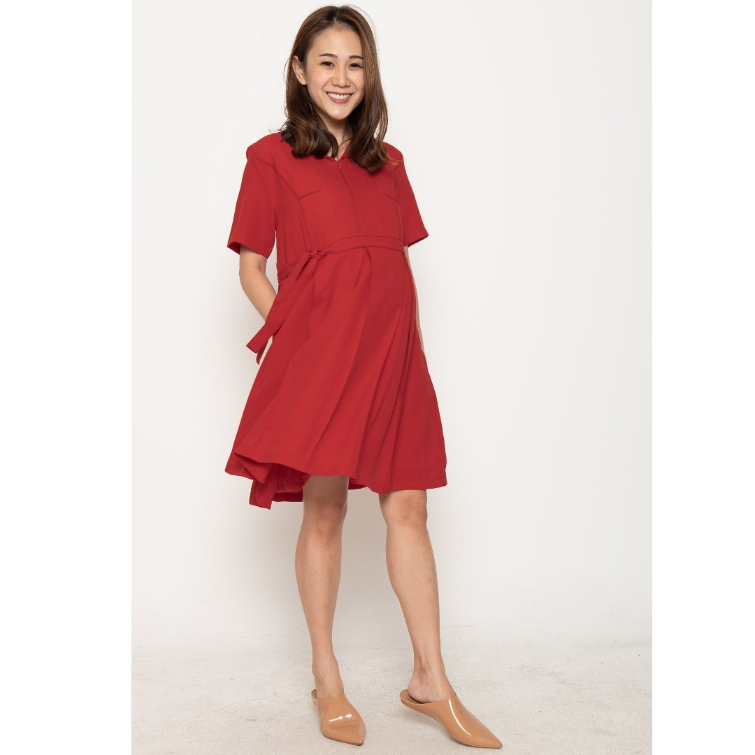 d3a77ed8685cf Brand New with Tag / In Bag Jump Eat Cry Another Work Day Nursing Dress in  Red, Babies & Kids, Maternity on Carousell
