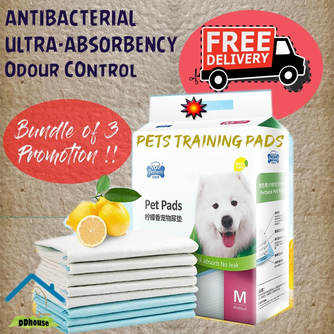 [Bundle Promo- FREE DELIVERY] Lemon Scented Training Pads Pee Pad for Dog Puppy WEE WEE PAD Potty Training for Dog