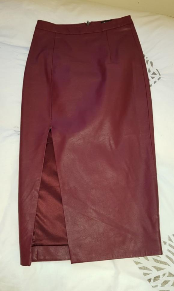 Burgundy Bardot Leather Midi Skirt with split Size AU6