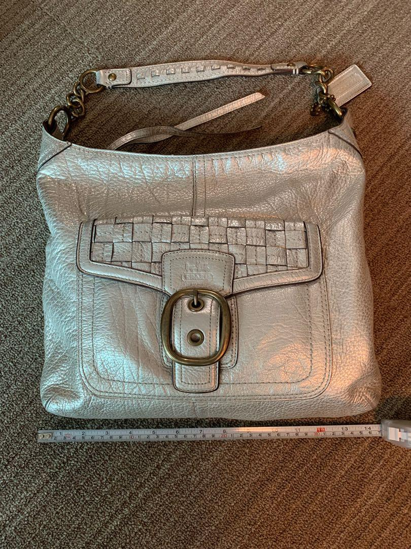 Coach silver leather bag