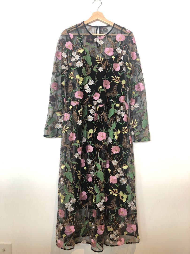Floral embroidered midi dress with black underdress Size 10