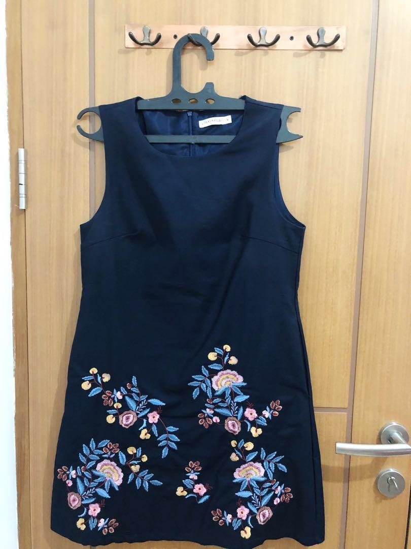 Flower Dress Vintage ( Navy Color )
