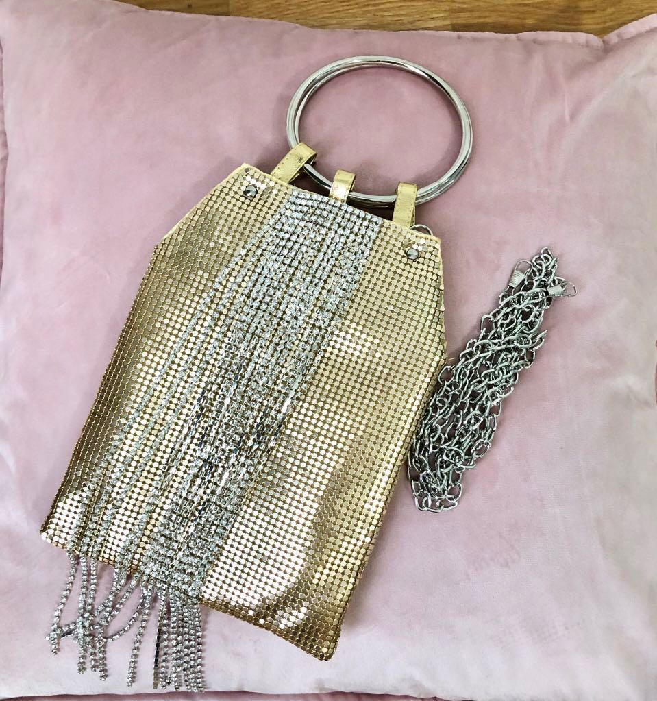 Gold with Crystal Tassel Bag/ Sling