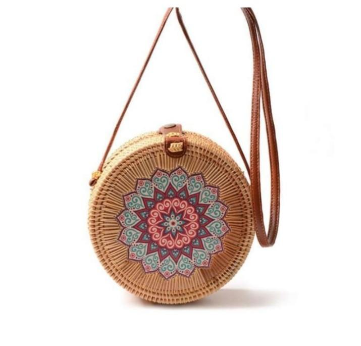 Handwoven Round Rattan Sling Bag