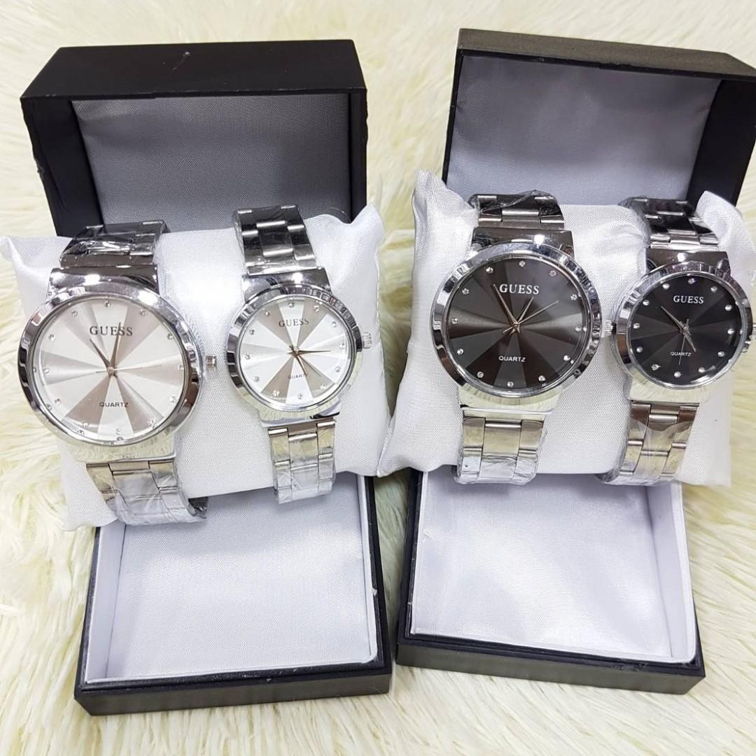 Jam Tangan Couple GUESS FLAMINGGO CP  Rantai putih couple diameter cowo 4cm cewe 3cm