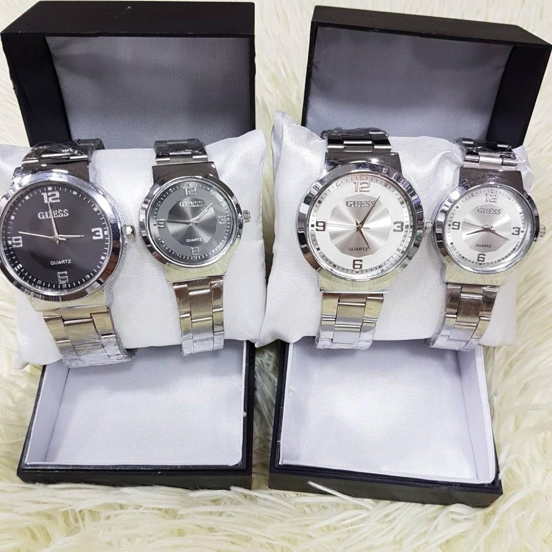 Jam Tangan Couple GUESS LUX CP  Rantai putih couple diameter cowo 4cm cewe 3cm