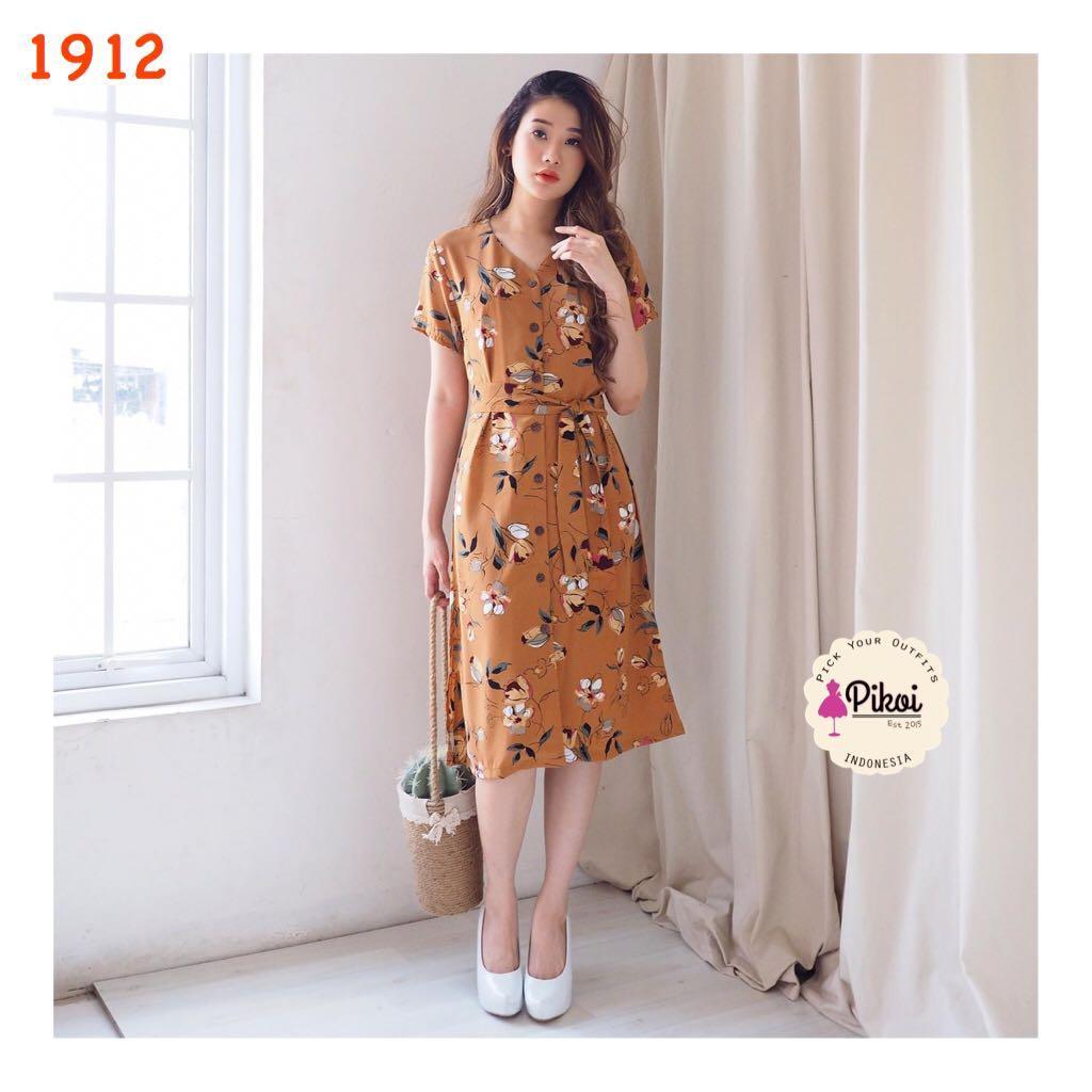 Mididress / Dress summer / dress panjang lengan pendek / korea dress kimono bunga / 1912
