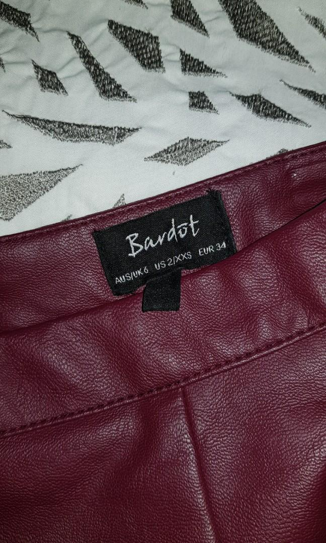 Midnight Blue Bardot Leather Midi Skirt with split