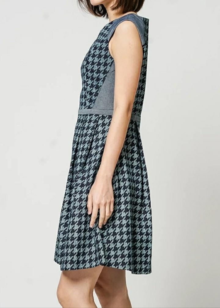 Minimal Houndstooth Denim Dress