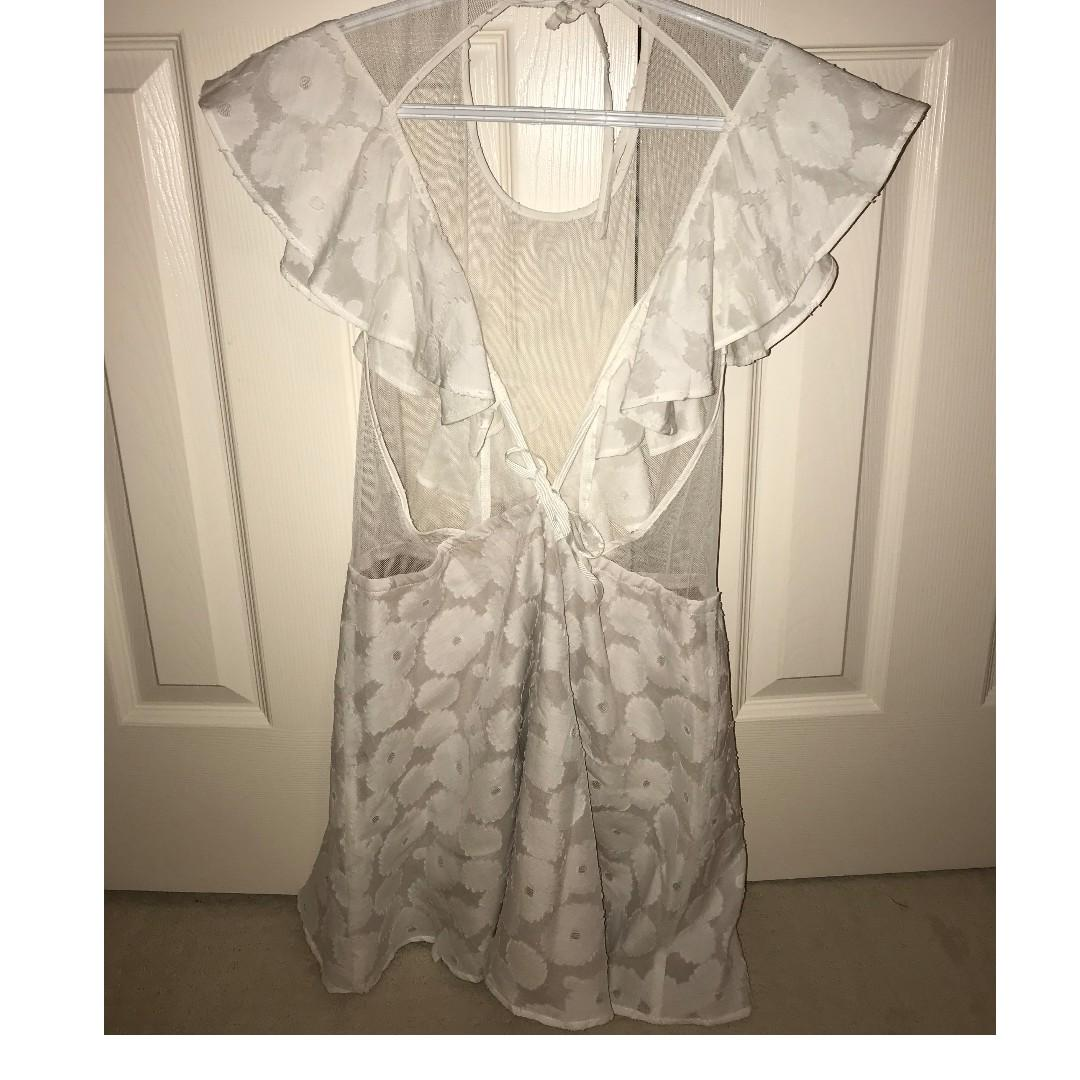 NEW For Love and Lemons White Mesh and Floral Dress (never worn--size small!)