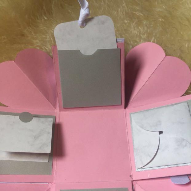 Pastel pink & grey Explosion Box (personalised)