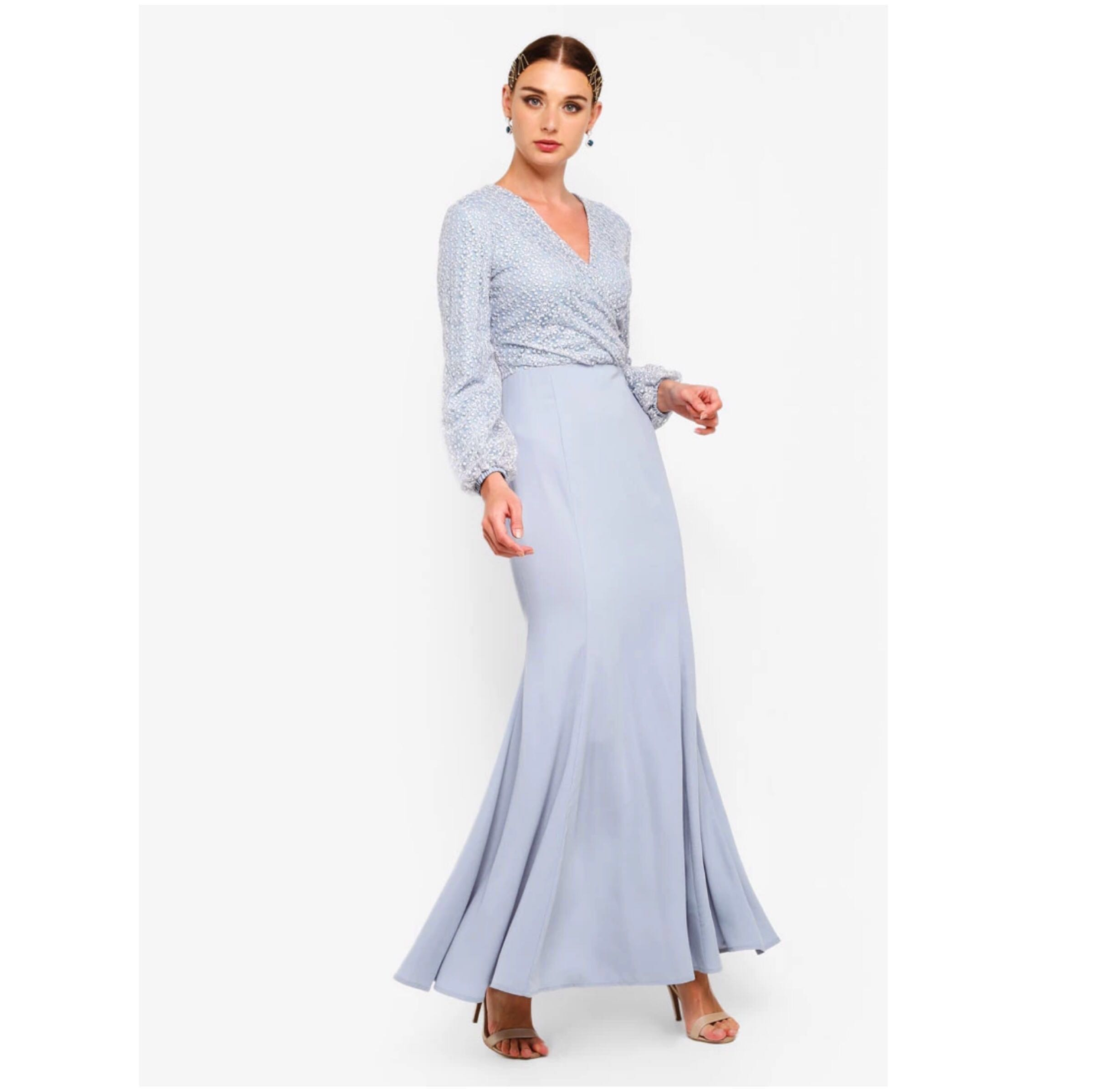Ramadan Malay Wedding Guest Dress Embroidered Lace Wrap Mermaid Dress Gown In Baby Blue For Dinner Occasions Modest Wear Size Xs