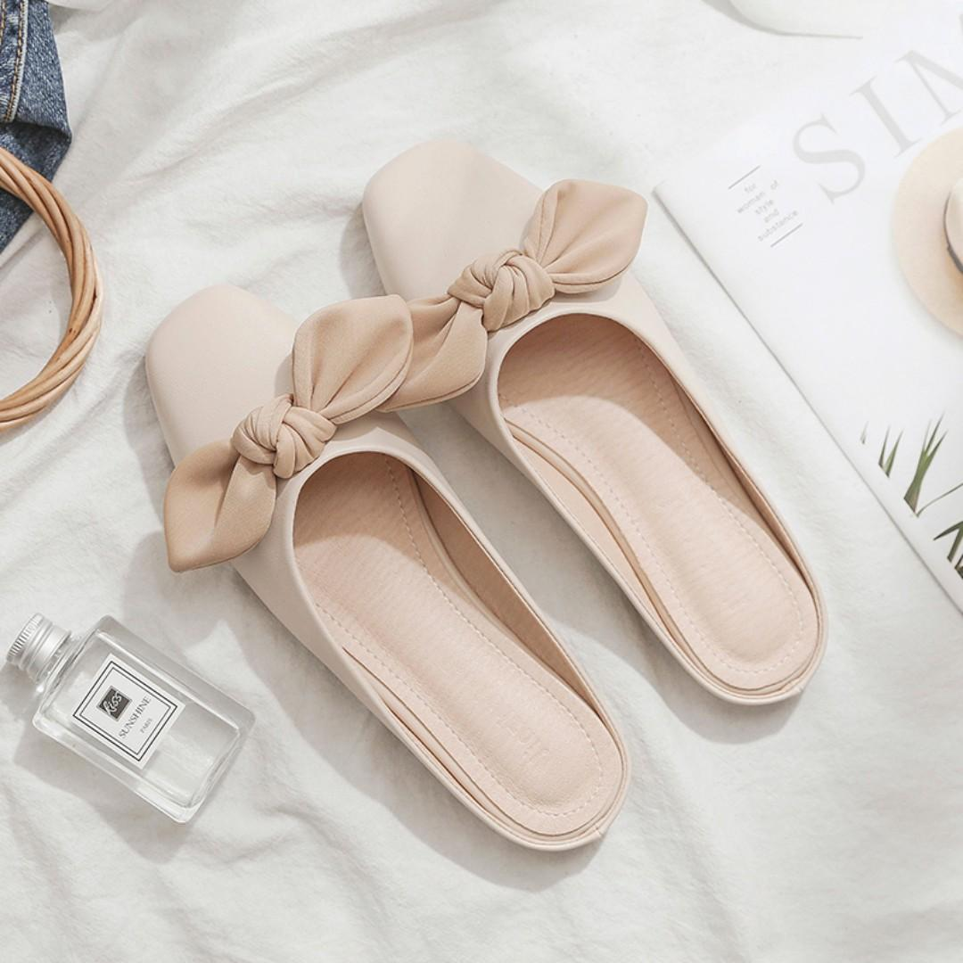 Ribbon Bow Korean Style Leather Slipped On Mules Loafers