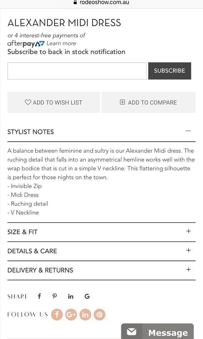 RODEO SHOW Alexander Midi Dress - Size 8 - BNWT NEW