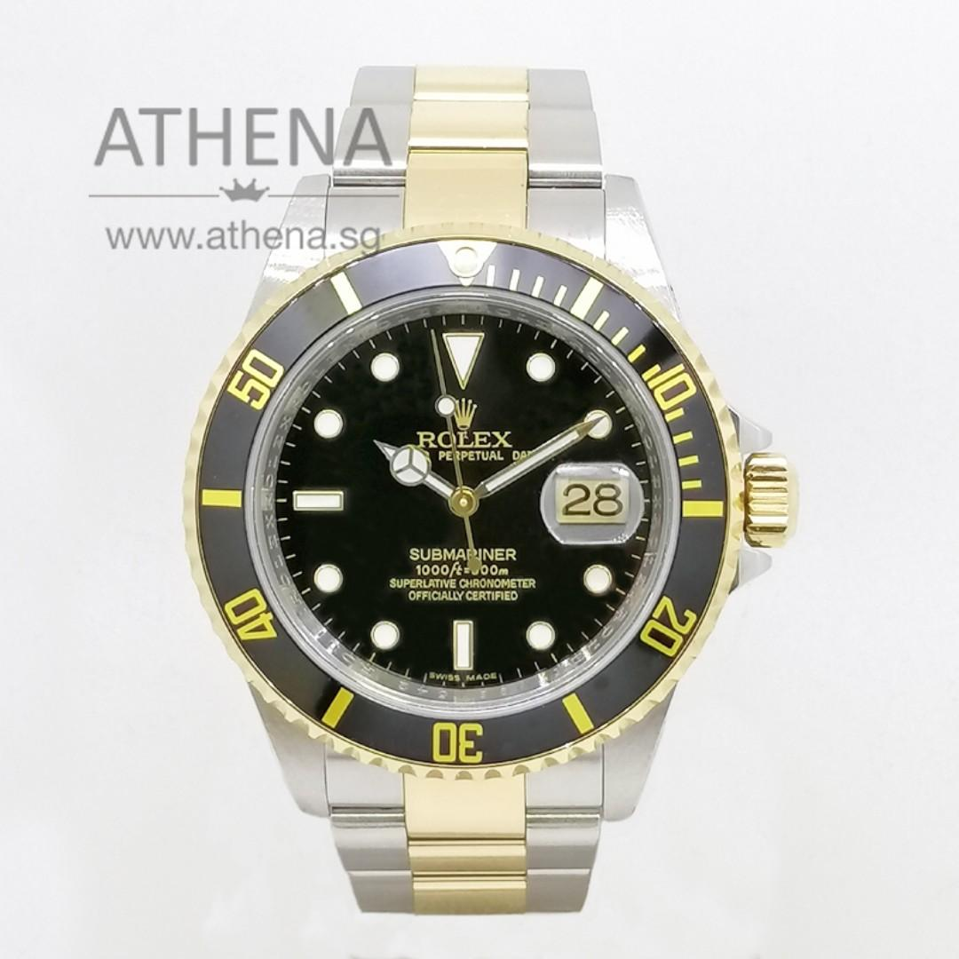 "ROLEX ""HALF-GOLD"" OYSTER PERPETUAL DATE SUBMARINER ""D"" SERIES ""BLACK DIAL"" WITH CERT 16613 JWWRL_1355"
