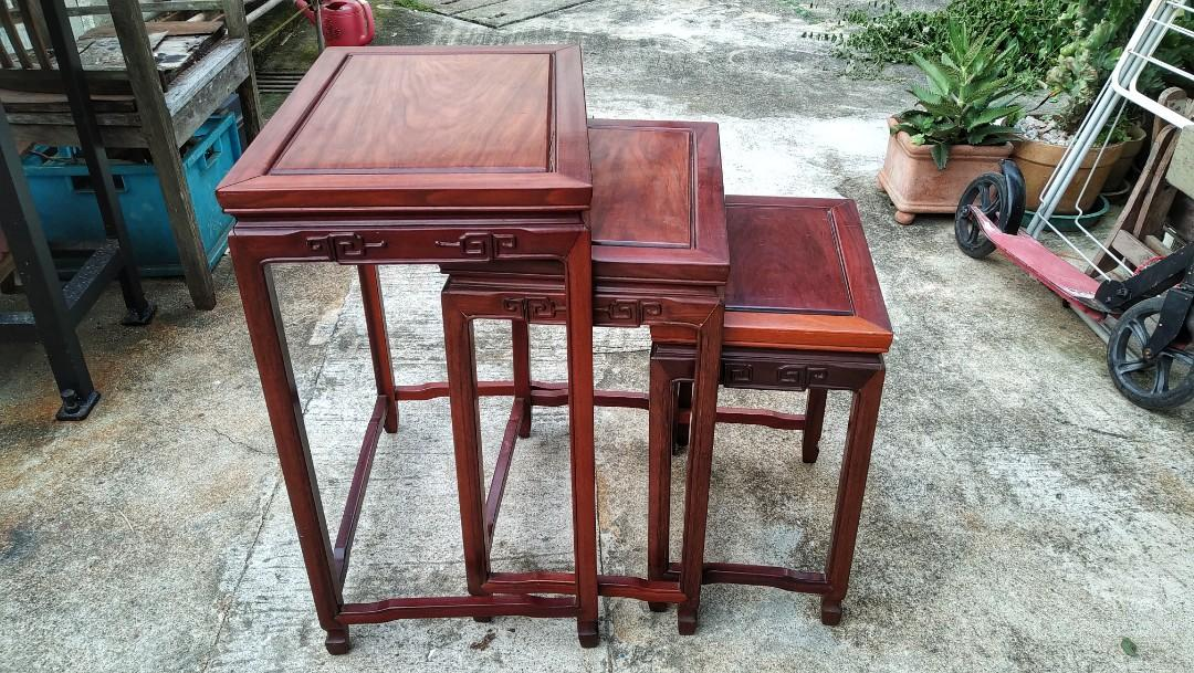 Rosewood Chinese vintage table set