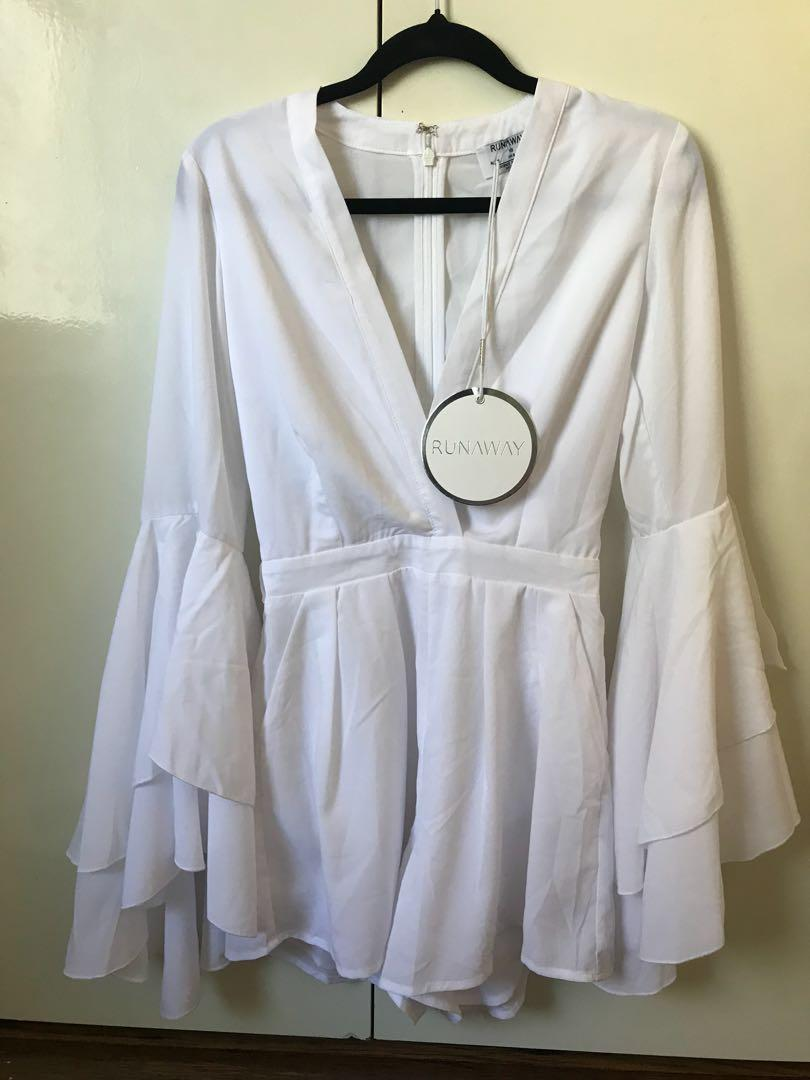 Runaway the label white playsuit