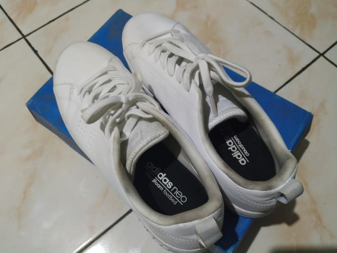 Sepatu sneakers Adidas neo advantage clean white leather original