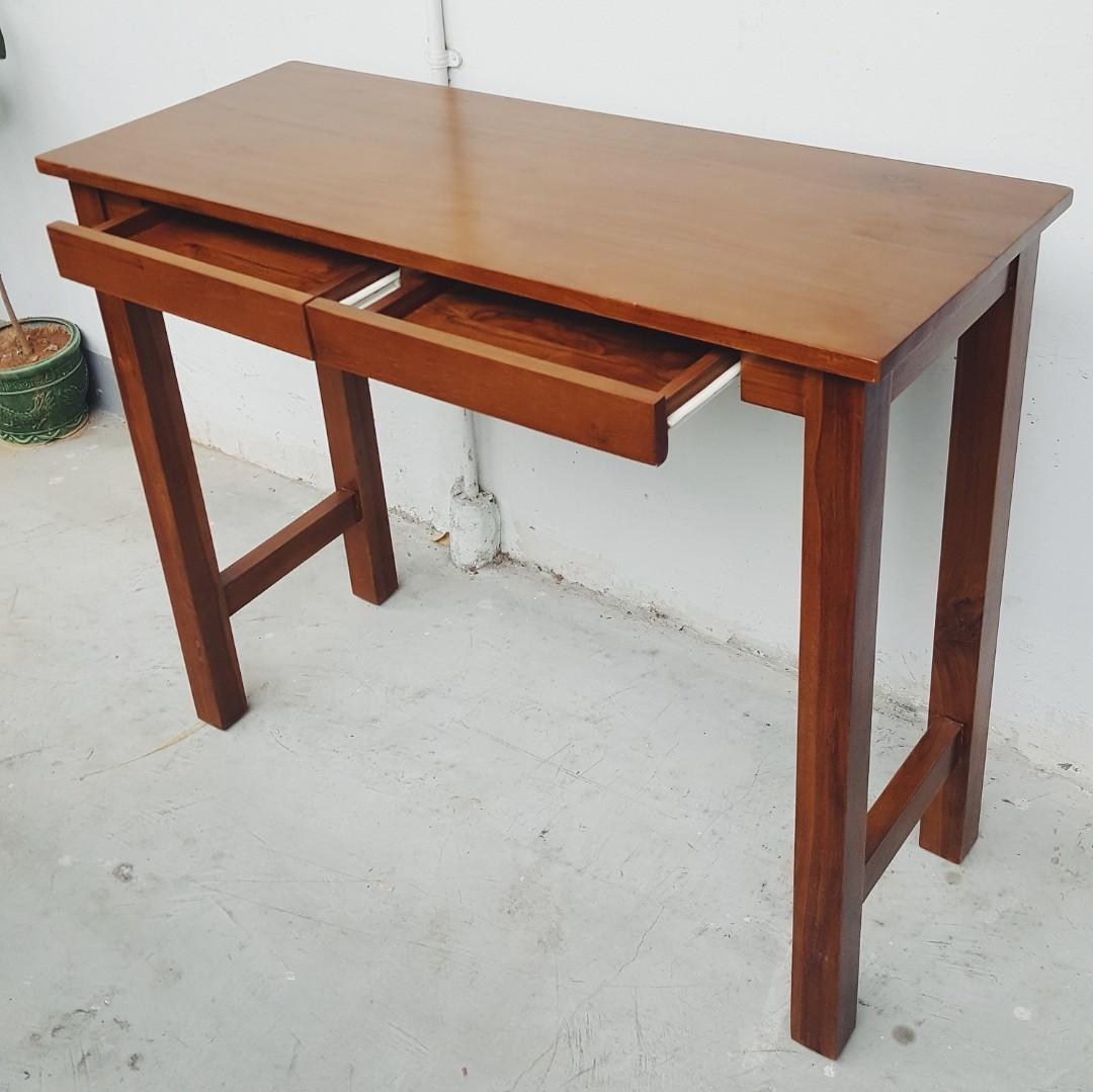 Picture of: Solid Teak Slim Console Table With 2 Drawers Furniture Tables Chairs On Carousell