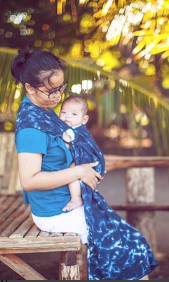 The Nest Baby Wrap - Ring Sling Bintu Navy Indigo Blue #mauvivo #bapau