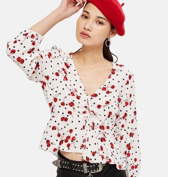 Topshop cherry polka dot blouse top
