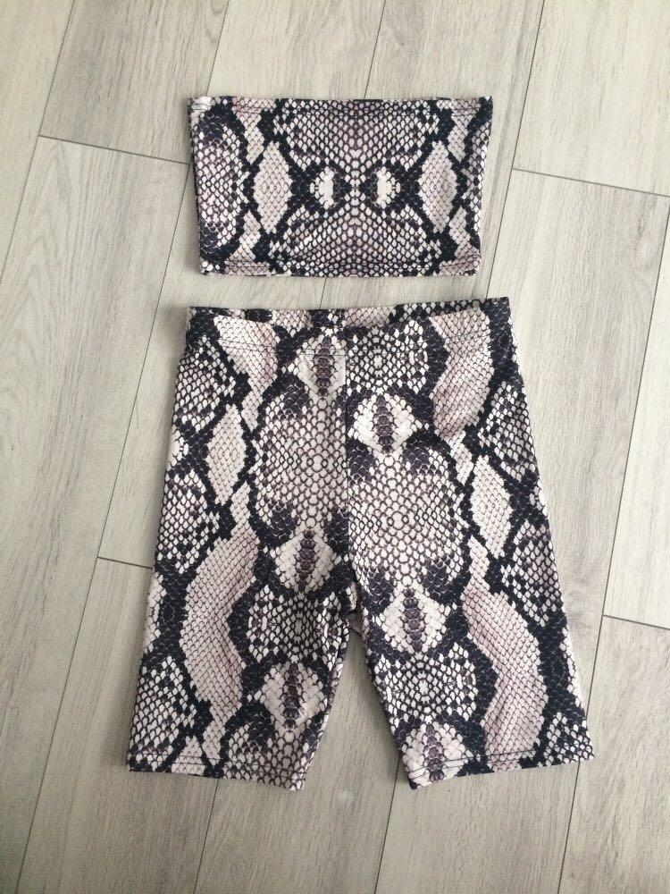 Two Piece Outfit Snake Print Bandeau Top & High Waist Shorts