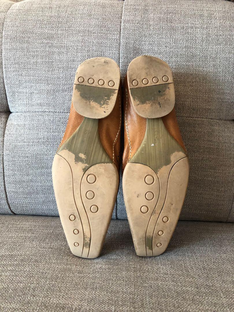 Valentino Coupeau Beige Men's Slip-On Leather Shoes Size 10