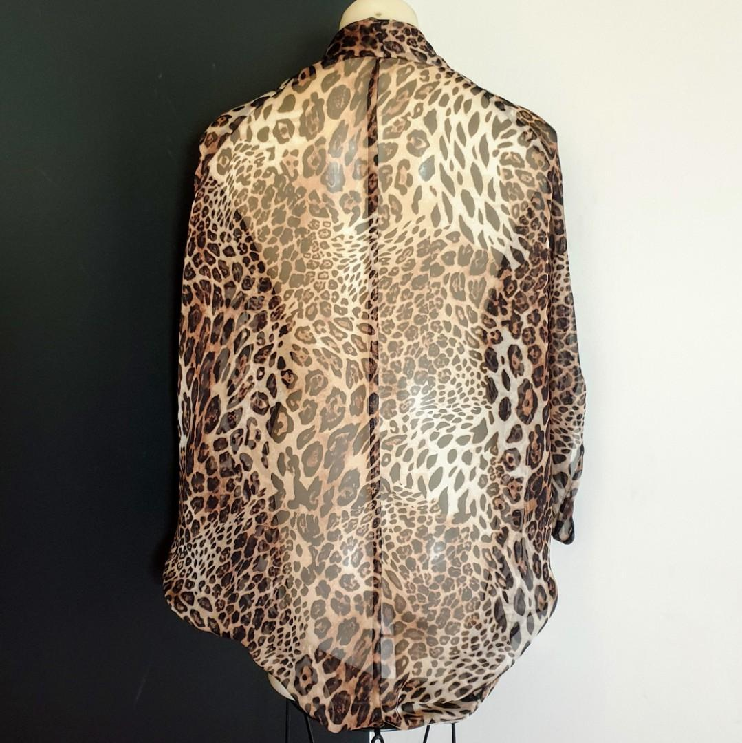 Womens one size Stunning leopard print semi sheer batwing sleeve jacket