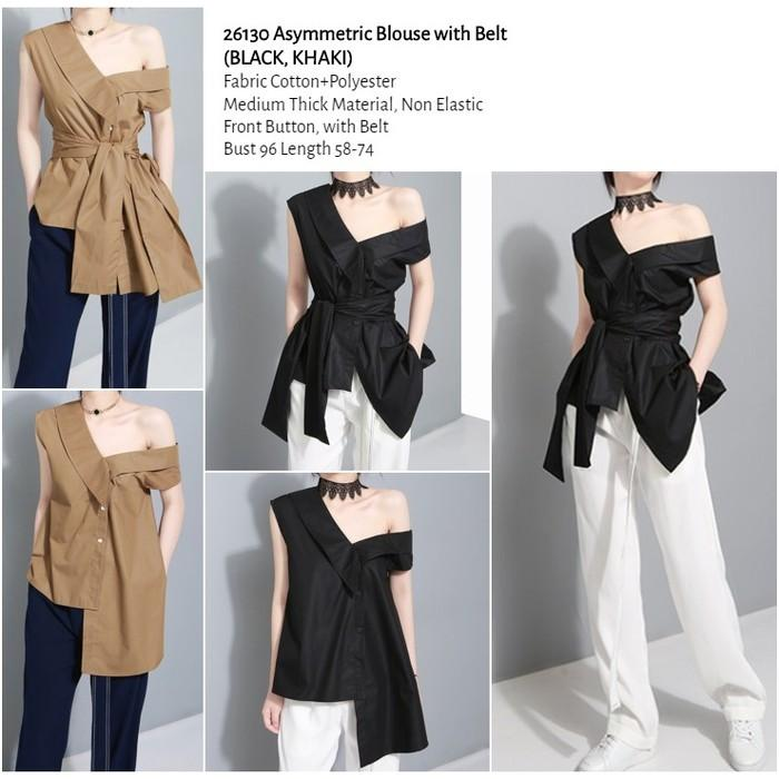 WST 26130 Asymmetric Blouse with Belt